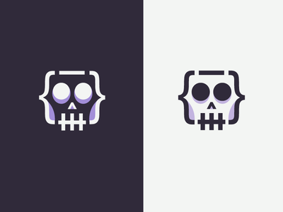 Killer code logo mark digital web code developer smart clever minimal simple logo icon flat line skull killer
