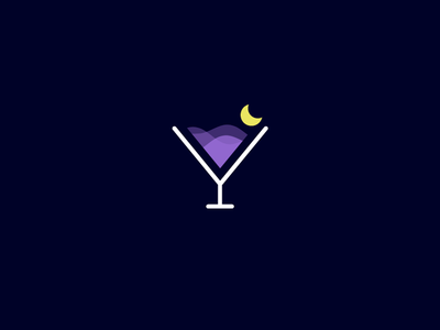 Moon Night Cocktail flat line club bar simple minimal smart clever lemon moon relax party alcohol wine cocktail cosmopolitan aegean sea night life icon logo beach
