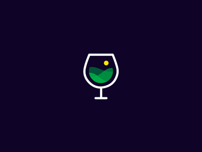 Landscape Wine wine glass red white alcohol flat line grid sun mountain minimal simple smart clever bar club landscape picture photo bio organic tuscany italy green grass icon logo