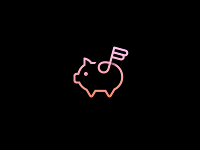 Flying Music Piggy smart clever angel wing save money simple minimal cute animal deal discount subtle flat one line app icon logo music note piggy bank flying pig