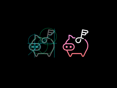 Flying Music Piggy V2 grid line angel wing flying pig piggy bank music note app icon logo flat subtle deal discount cute animal simple minimal save money
