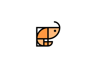 Golden Ratio Shrimp grid layout restaurant fish subtle smart clever cute animal golden ratio seafood shrimp flat line minimal simple icon logo