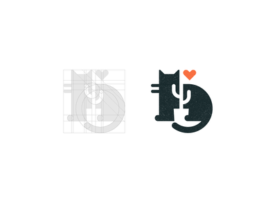CATus lover smart clever flat subtle cute animal simple minimal cactus plant heart lover grid animal love mark symbol negative space black white minimal simple icon logo flat line cat