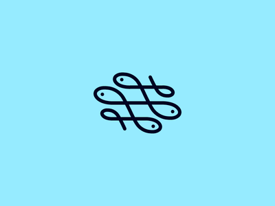 Swash Fish wild animal fish hooks rope swash ornament blue sea navy marine sailor flat line logomark curves curvy wave food seafood one line restaurant simple minimal icon logo