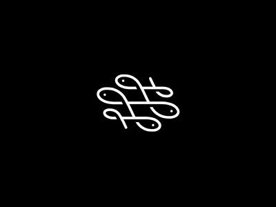 Swash Fish v2 icon logo simple minimal restaurant animal one line food seafood curves curvy wave flat line logomark marine sailor blue sea navy swash ornament fish hooks rope
