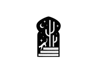 Night at Alhambra magic fairy tale stamp ancient islamic architecture cactus cacti starry sky black and white graphic window door logolounge tattoo design exotic arabic night cat plant doodle illustration icon logo flat line minimal simple