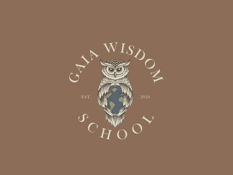 Gaia Wisdom School Logo Design sketch owl logo owl illustration retro school earth owl vector brand identity branding hand drawn drawing adobe vintage design illustration logo