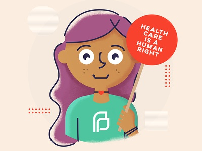 Healthcare is A Human Right planned parenthood protest activist healthcare character illustration