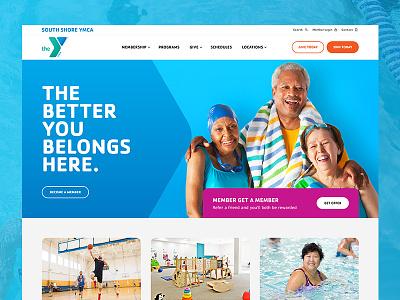 YMCA Homepage membership community ui design website homepage