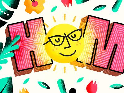 Home sun home textures design illustration