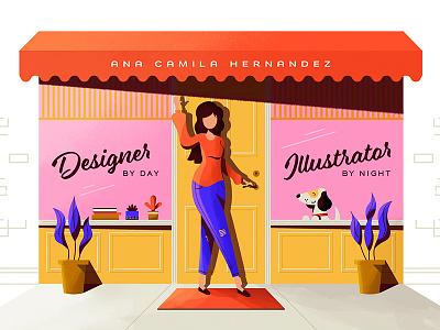 Portfolio Illustration girl city storefront portfolio design illustration