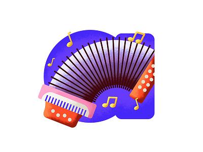 Vallenato texture music notes accordion illustration music