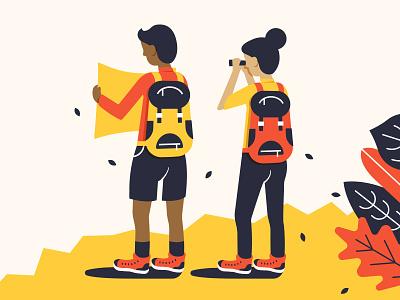 Explorers outdoors travelers nature explore characters illustration