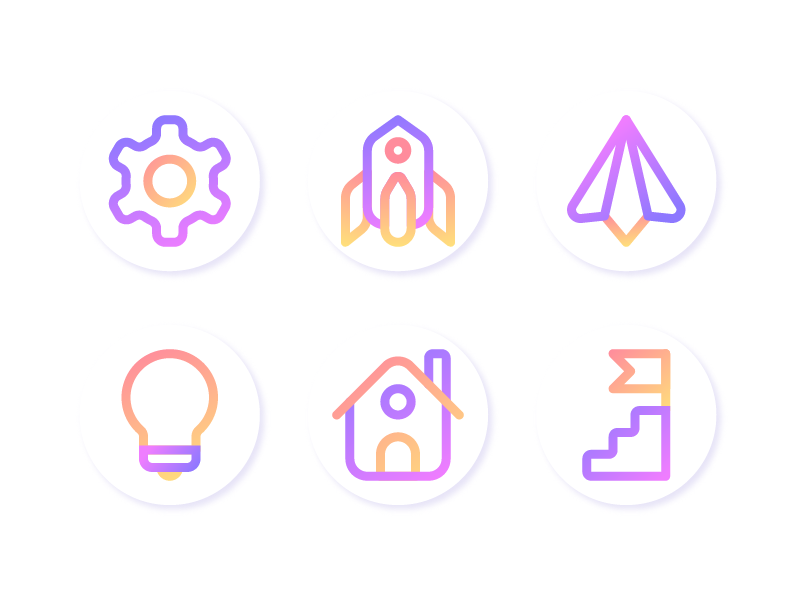 Startup Icons education rocket gradient illustration iconutopia startup line interface infographic iconset icon flat