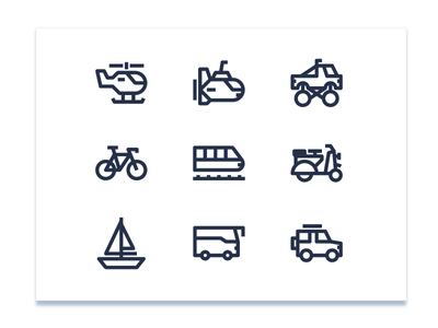 Transport Icons startup line interface car illustration transportation iconset icon vespa flat transport