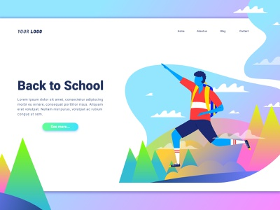 Back To School 🏢 Landing Page school typography interface education back to school ux ui character gradient illustration
