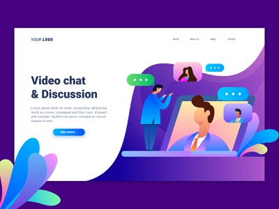 Video Chat Landing Page character ux ui user inteface dasboard landing page discussion video chat interface gradient illustration