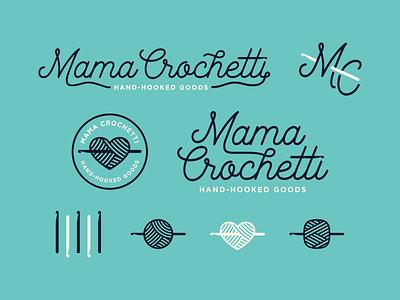 Mama Crochetti hook monogram badge yarn crochet script icon design branding logo