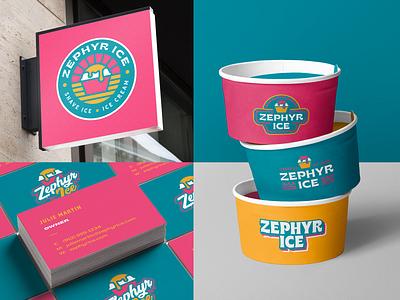 Zephyr Ice vibes summer brice surf ice cream shave ice vector branding icon design logo