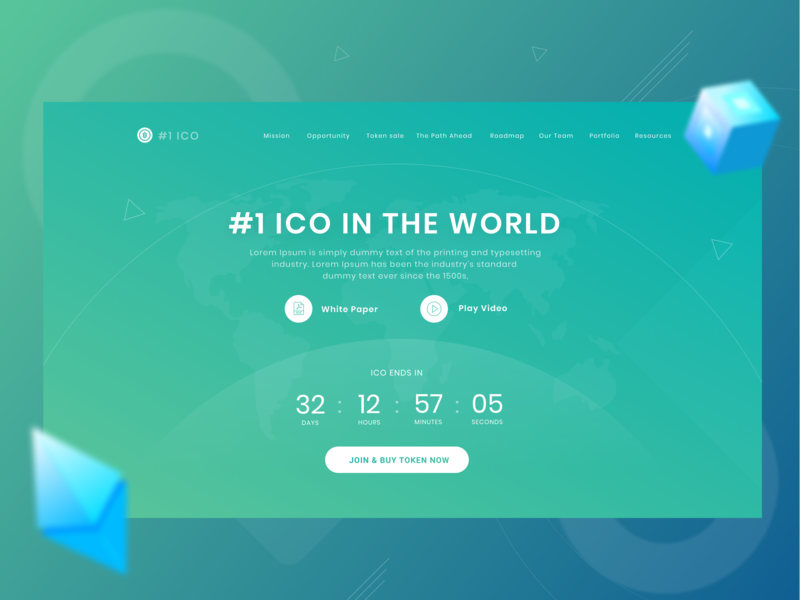 Number ONE ICO  ( ui/ux design ) coin illustration landing page web website design web design gradient design gradient modern flat blockchain bitcoin ico webdesign website design ux ui