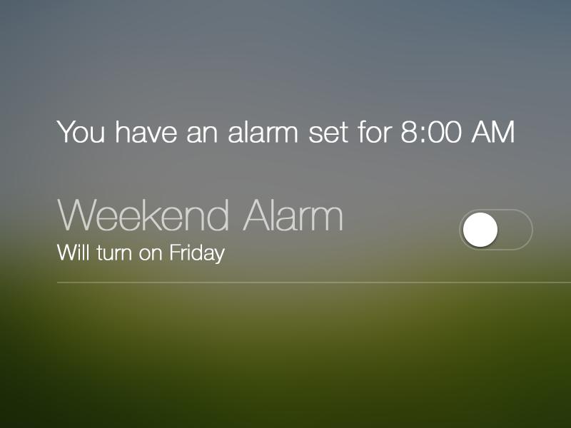 Alarm Notification Center - iOS 7 ios 7 notification center alarm switch concept