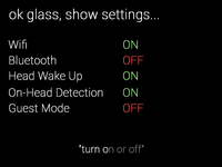 "Google Glass ""ok glass"" Setting Toggles"