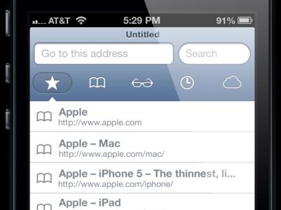 Safari for iOS New Tab View v2