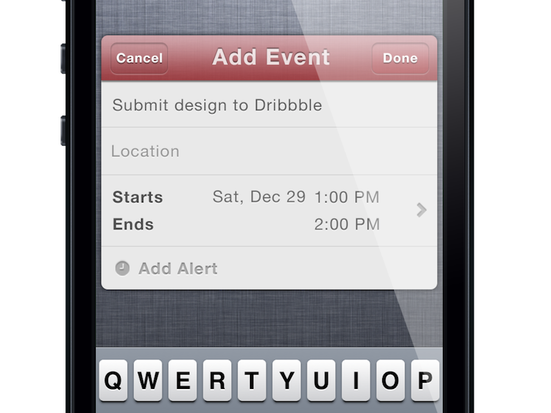 Actions Widget - Calendar View ios ios 6 iphone ipad ipod touch ipod notification center twitter calendar add add event event view done alert add alert cancel starts ends nc apple