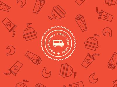 Camel City Grill Pattern badge pattern food truck hamburger wrap soda flame fire design branding
