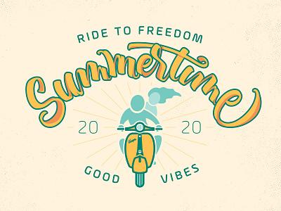 Summertime summertime badge illustration vespa lettering dribbbleweeklywarmup vector typography