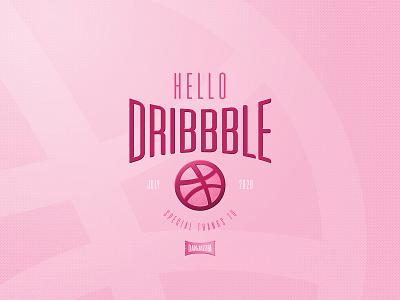 Hello dribbble typography hello dribbble debut illustration vector