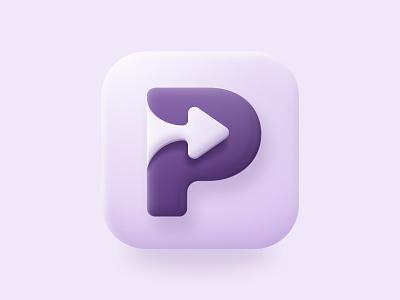App Icon Concept letters arrow mobile ui visual design purple elegant gradient concept button branding appdesign app dailyui uidesign