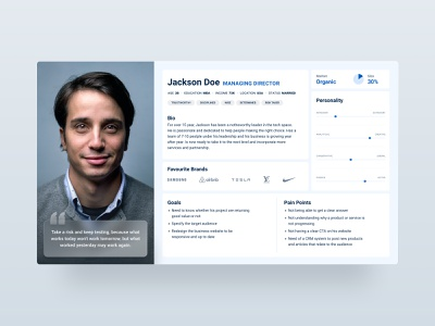 User Persona figma template presentation meeting discovery strategy profile research branding agency persona user experience user art direction concept