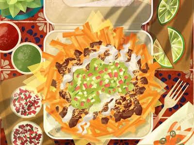 Carne Asada Fries illustration food