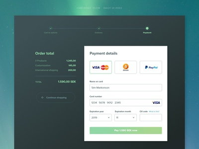 Daily UI #002 Credit card checkout adobe xd steps progress ecommerce cart payment checkout credit card ui dailyui