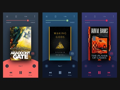 Daily UI #009 - Music (Audio book) Player variations color app ui audio book player music daily ui 009
