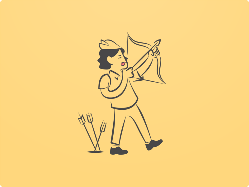 The First One icon web man archer character clean identity flat line mark minimal design illustration