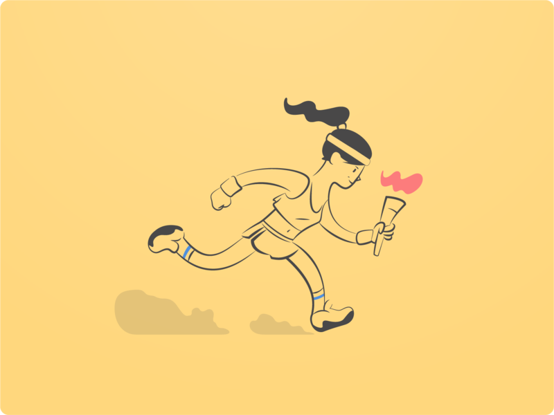 The Second One woman sport torch runner character web clean flat illustration icon minimal design