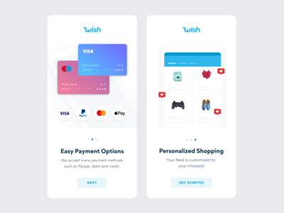 Wish Onboarding Screen ecommerce tutorial sign up ui shopping wish signup onboarding