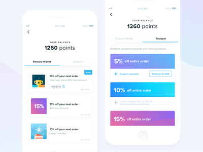 Rewards Program dashboard points redeem redemption rewards