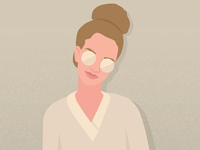 Vector portrait of Antonia minimal retro portrait vector graphics