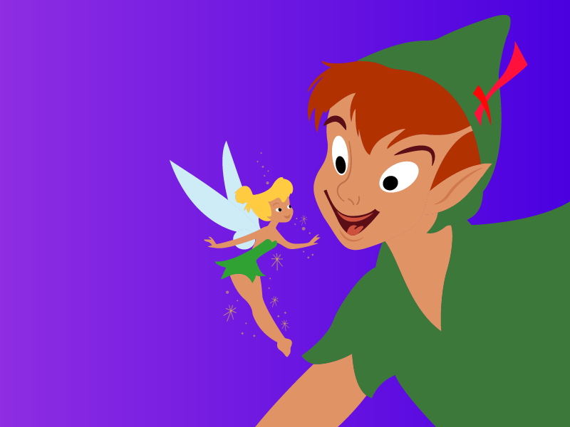 Peter Pan Illustration pen tool illustrator cc clean ui character design character illustration design tinkerbell peter pan