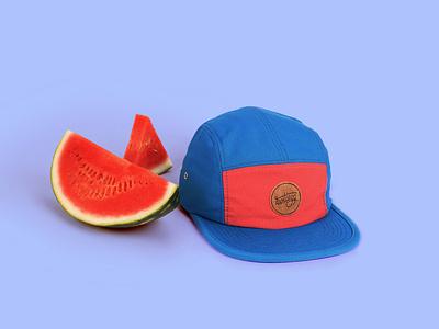Product design hat watermelon creative branding ui lettering hatchback badge badgedesign logodesign summer streetwear design creativedirection artdirection photoshooting cap details handlettering productdesign product