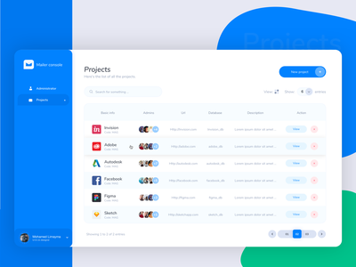 Projects Page -  List View pagination user account admin rows list view table grid layout ux campaign administrator typography design logo icon layouts grid element clean