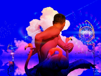 𝒇𝒍𝒂𝒎𝑩𝑶𝒀𝒂𝒏𝒄𝒆 🦩✧˖° lgbt gay pride pride rainbow view aesthetics cumulus sparkle pink gradients gradient vision dreamscape dream heaven flamingo queer gay boy illustration