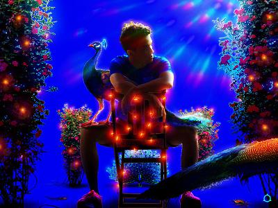 𝑷𝒊𝒕𝒚 𝑷𝒂𝒓𝒕𝒚 𝑷𝒆𝒂𝒇𝒐𝒘𝒍𝒔 🦚✧˖° fairy lights relax summertime lighting plants botanical vegetation summer birds bird party garden peafowl peacock queer gay graphic design boy blue illustration