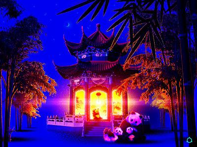 🎐✧˖° dark glow plants fantasy dreamscape nature animal china japanese japan bamboo family cute retro retrowave vaporwave pandas panda chinese pavilion illustration