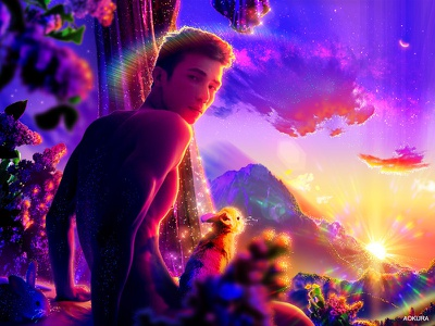 🐇💐˖°✧ sunset paradise purple scenery aapi stopasianhate male asian rainbow dreamscape landscape plants flowers gradients gradient rabbit bunny pride queer gay