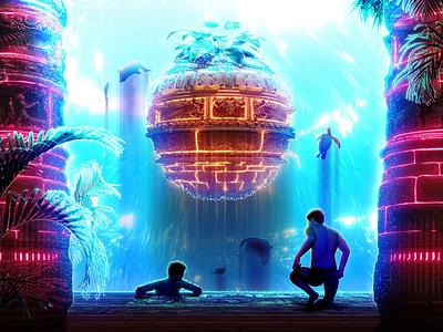 🍍˖°✧ animation tidal ancient vfx ocean temple magic orb pillar column dreamscape architecture underwater animals plants male motion wave water motion graphics