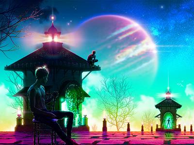 🌌˖°✧ surreal galaxy lighthouse strange queer gay illustration animation motion graphics vaporwave retrowave boy man sky cosmos planet gradient dreamscape space jupiter